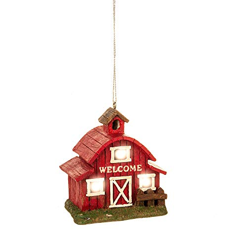 Country Red Welcome Barn LED 3.25 x 2.75 Resin Decorative Hanging Ornament
