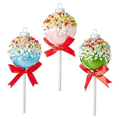 Raz 5″ Multi Color Cake Pop Glass Christmas Ornament- One Per Package