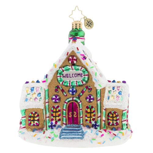 Christopher Radko Hand-Crafted European Glass Christmas Decorative Figural Ornament, Gingerbread Dream Home