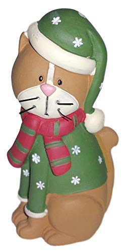Blossom Bucket Brown Kitty Cat in Green Snowflake Sweater & Hat Resin Figurine #2