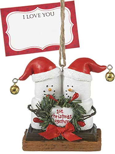 Ganz U.S.A., LLC S'Mores Marshmallows Our 1st Christmas Snowman Ornaments Holding a Wreath Holiday Christmas Tree Decor Gifts Decorations with I Love You Card Presented in a White Gift Box