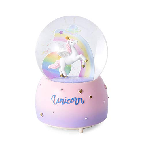 Shop LC Delivering Joy Magic Color Pastel Unicorn Starry Sky Musical Snow Globe 3xAAA Batteries Not Included
