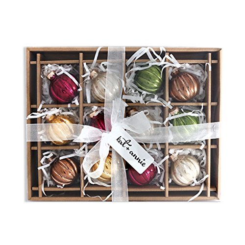 kat + annie Ornament 12 Count Rustic Rounds, Gold/Bronze/Red/Green