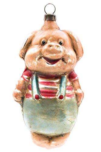 Marolin Pig with Pants MA2011103 German Glass Ornament w/Gift Box