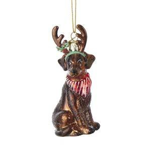 Noble Gems Chocolate Labrador Retriever with Antlers Glass Ornament