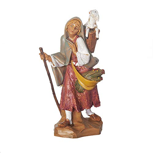 Fontanini, Nativity Figure, Miriam The Shepherdess, 7.5″ Scale, Collection, Handmade in Italy, Designed and Manufactured in Tuscany, Polymer, Hand Painted, Italian, Detailed