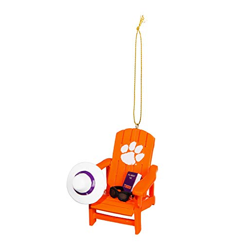 Team Sports America NCAA Clemson University Stunning Beach Adirondack Chair Christmas Ornament – 3″ Long x 3″ Wide x 3″ High