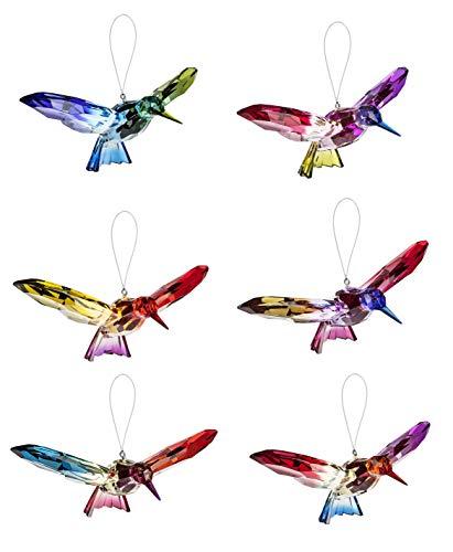 Ganz Flying Hummingbirds Rainbow Hues 7 x 4 Acrylic Hanging Figurines, Set of 6