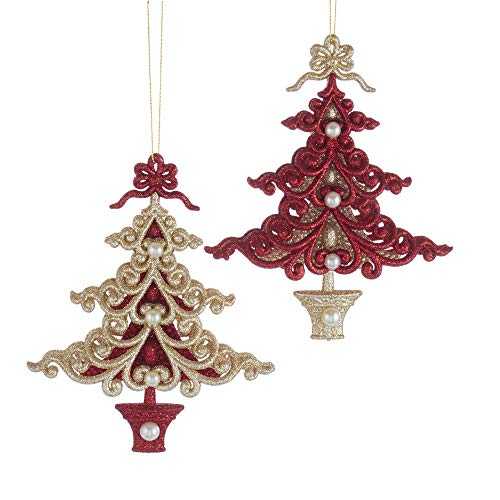 Kurt Adler 6″ Christmas Trees with Northern Star (Ruby Red & Platinum) Set of 2 Acrylic Ornament for Christmas & Home Décor