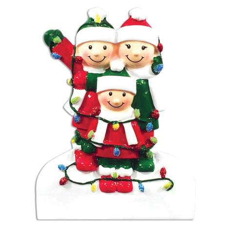 Family Series Tangled in Lights Family of 3 Personalized Christmas Tree Ornament