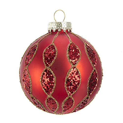 Kurt Adler Kurt S. Adler 80MM Red with Glitter Pattern Glass Ball, 6 Piece Box Ornament, Gold