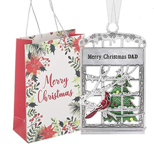 Ganz U.S.A., LLC Dad Window Pane Elf Ornaments Merry Christmas DAD for Holiday Christmas Tree Decor Gifts 2019 from Son or Daughter Presented in a Merry Christmas Holiday Bag