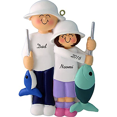 Calliope Designs Fishing Friends: Male with Female Child Personalized Christmas Ornament – Handpainted Resin – 4.5″ Tall – Free Customization
