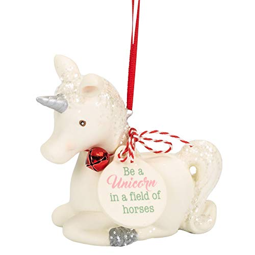 White Be A Unicorn Field of Horses 3 inch Porcelain Christmas Ornament
