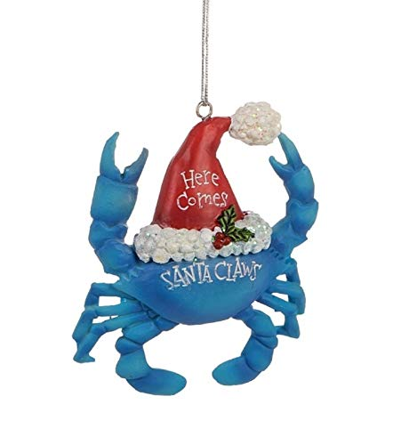 Beachcombers 3.5-inch Resin Santa Claws Blue Crab Hanging Ornament