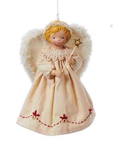 Kurt Adler 7″ Fabric Ornament Angel Christmas Tree Topper, Ivory