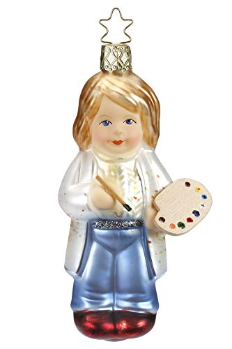Inge-Glas Girl Artist, Artiste' 10062S018 German Blown Glass Christmas Ornament