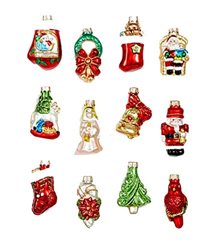 Holiday Lane Glass Christmas Cheer Icon Mini Ornaments, Set of 12