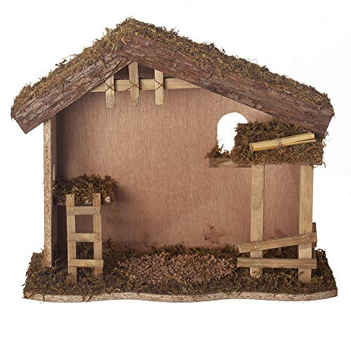 Fontanini, Stable, 12.25″ H, Wood/Moss/bark, 7.5″ Scale, Collection, Handmade in Italy, Designed and Manufactured in Tuscany, Polymer, Hand Painted, Italian, Detailed