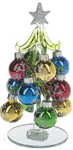 Ganz Miniature 6 inch Glass Christmas Tree with 12 Glitter Silver Ornaments with Mirrored Base (Silver Snowflakes)