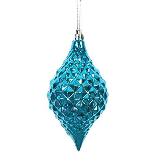 Vickerman 476543-6″ Turquoise Shiny Diamond Drop Christmas Tree Ornament (4 pack) (N174912D)
