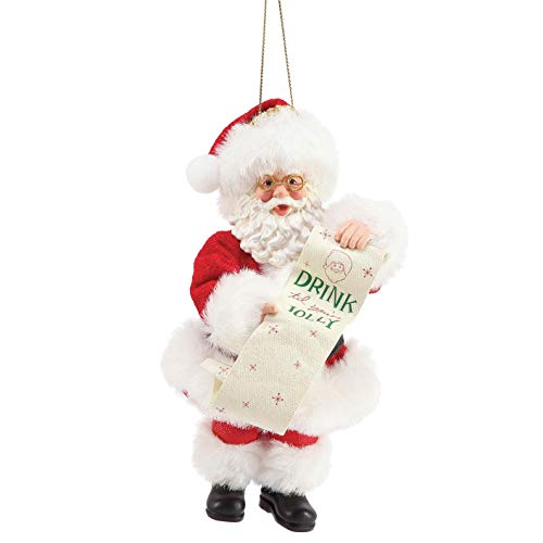 Department 56 Possible Dreams Santa Drink Until You're Jolly Personalizable Hanging Ornament, 6 Inch, Multicolor