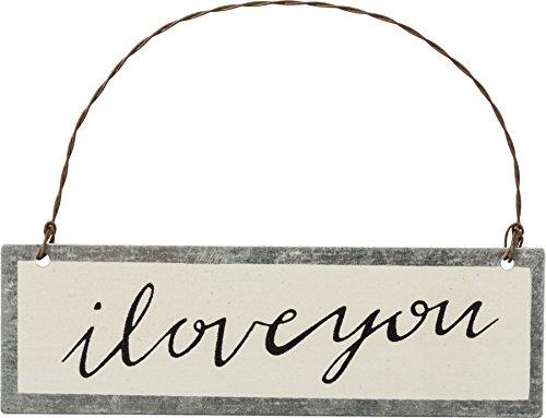 Primitives by Kathy PBK Valentines Decor – I Love You Beige Ornament Sign