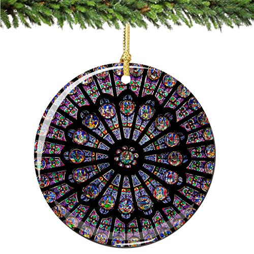 City-Souvenirs Rose Window Christmas Ornament, Porcelain 2.75″ Double Sided Notre Dame Cathedral Paris Christmas Ornaments