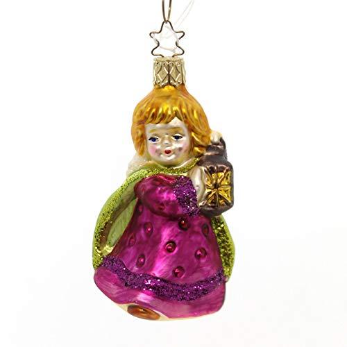 Purple Angel with Lantern Glass Ornament Light Wings by Inge Glas German Glass