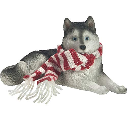 Sandicast Siberian Husky with Red and White Scarf Christmas Ornament