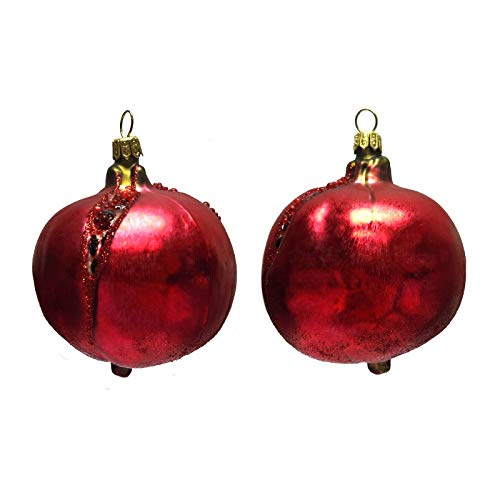 Pinnacle Peak Trading Company Pomegranate Fruit Polish Glass Christmas Tree Ornaments Set of 2 Food Decoration