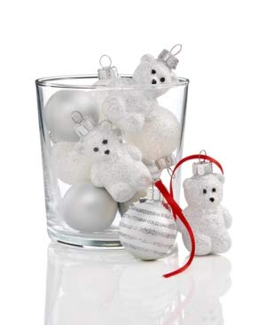 Holiday Lane Set of 12 Shatterproof Mini Teddy Bear & Ball Ornaments