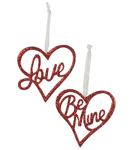 Bethany Lowe Valente Heart Love Be Mine Ornament Set of 2