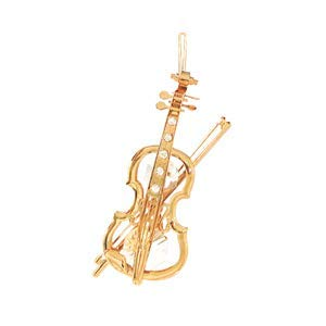 24k Gold Plated Violin – Ornament – Clear Swarovski Crystal