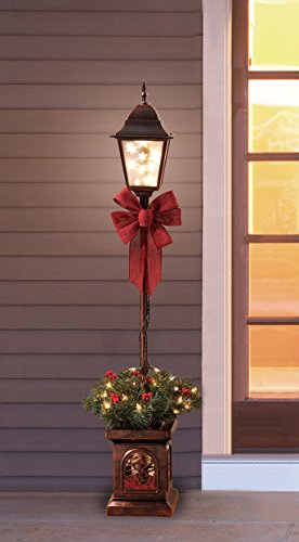 Holiday Time Pre-Lit 4′ Christmas Lamp Post Tree, Plastic Clear Lights Bronze