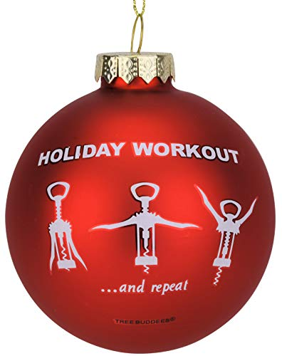 Tree Buddees Wine Opener Holiday Workout Funny Glass Christmas Ornament