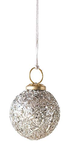 Creative Co-op Small Glass Ball Silver Mica Flakes Ornament