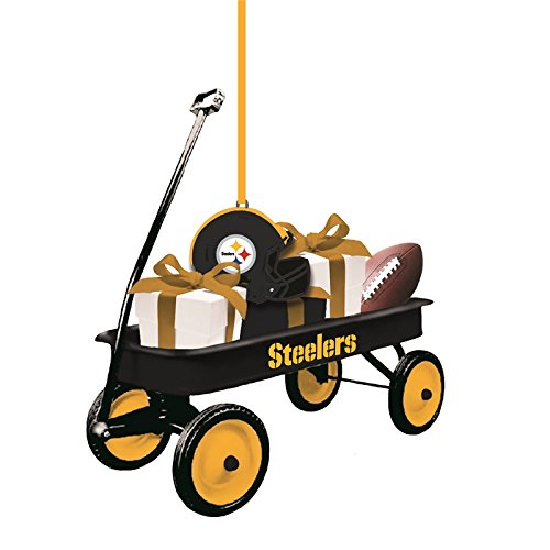 Team Sports America Pittsburgh Steelers NFL Team Wagon Ornament, Set of 4