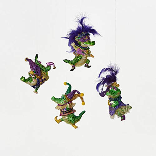 180 Degrees Mardi Gras Alligator Ornaments Set of 4 with Masks Beads Hats Feathers