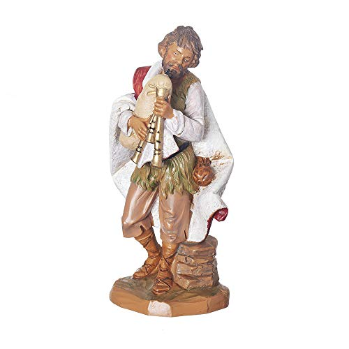 Fontanini, Nativity Figure, Josiah The Bagpiper, 7.5″ Scale, Collection, Handmade in Italy, Designed and Manufactured in Tuscany, Polymer, Hand Painted, Italian, Detailed