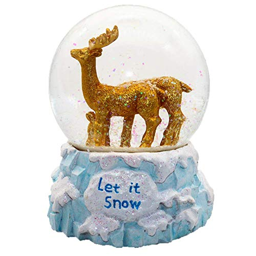 APELPES Christmas Snow Globes,New Year's Snowglobes Gift, Musical and Light, for The Love of Precious Moments, Resin/Glass(Diameter 100mm, Deer)