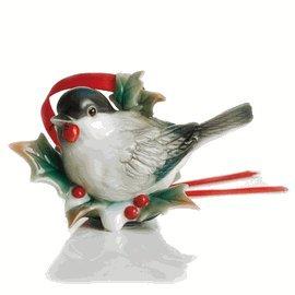 Franz Porcelain Holiday Beginnings chickadee ornament