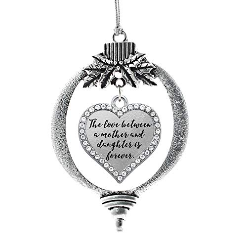 Inspired Silver – Mother and Daughter Bond Charm Ornament – Silver Open Heart Charm Holiday Ornaments with Cubic Zirconia Jewelry