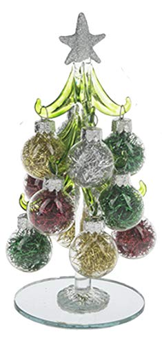 Ganz U.S.A., LLC Miniature 6 inch Glass Christmas Tree with 12 Glitter Silver Ornaments with Mirrored Base (Silver Tinsel)