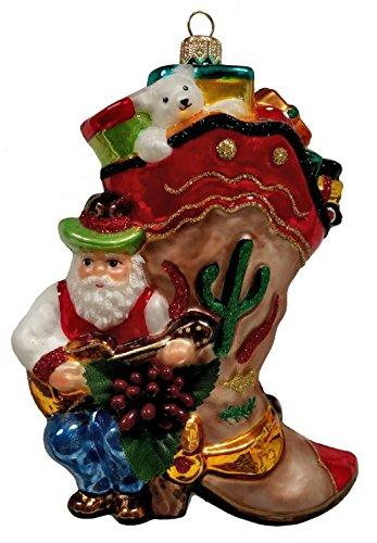Pinnacle Peak Trading Company Western Cowboy Boot Santa Claus with Presents Polish Glass Christmas Ornament