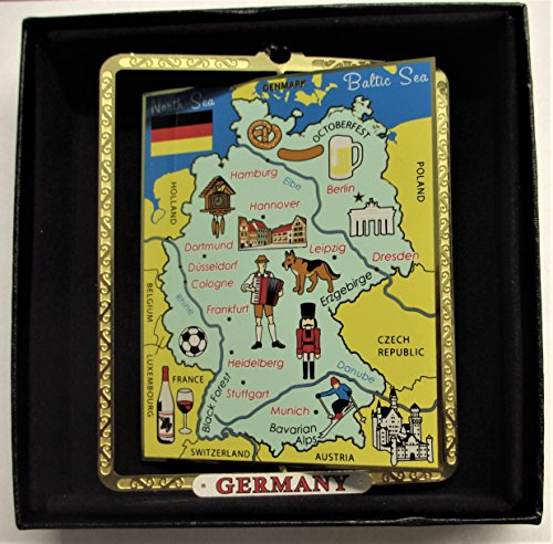 I Love My State Germany Map Ornament Color Brass Black Leatherette Gift Box