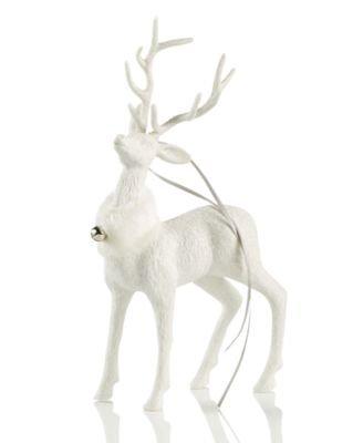 Holiday Lane White Glitter Deer Ornament