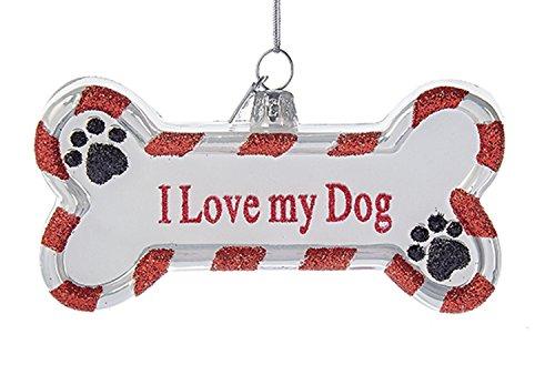 Noble Gems I LOVE MY DOG ORNAMENT Glass Bone Paw Prints Puppy Nb1091