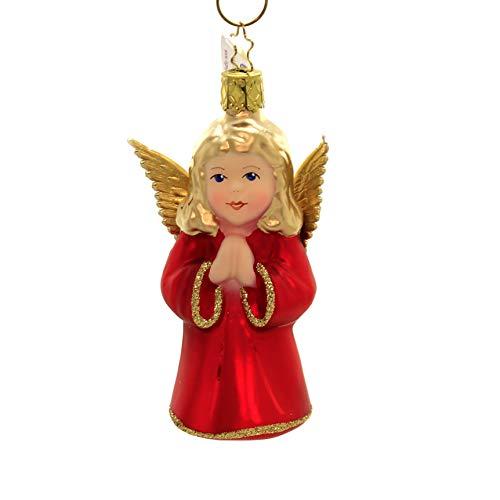Inge-Glas Angel Red Matte 10212S019 German Glass Christmas Ornament