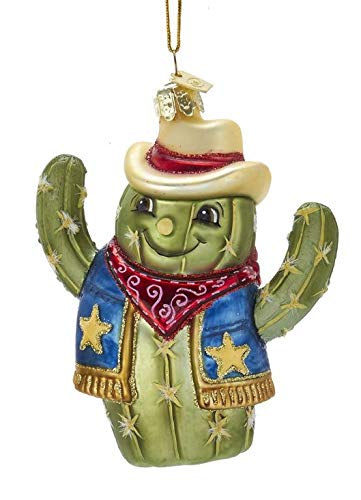 Kurt-Adler Glass Ornament with S-Hook and Gift Box, Random Selection (Cactus Cowboy, Hankerchief, NB1440)